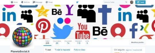 Immagine di profilo e copertina account pianetasocial