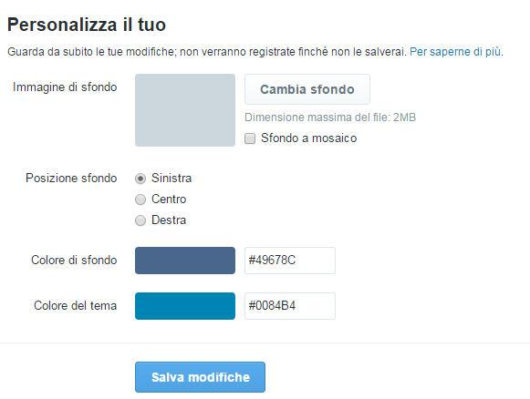 Le opzioni per personalizzare il profilo twitter