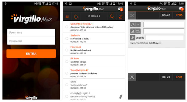 app Virgilio mail mobile