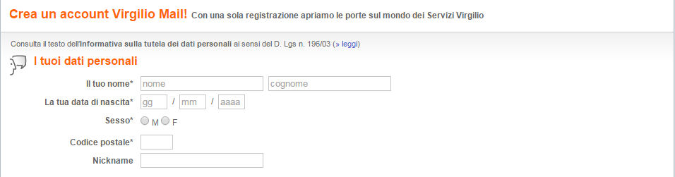 Registrazione a virgilio mail