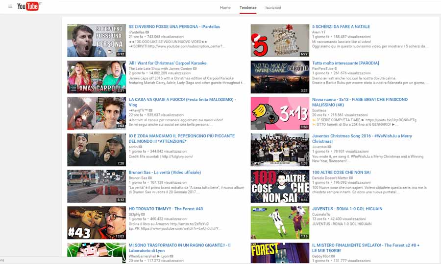 Canali youtube di tendenza